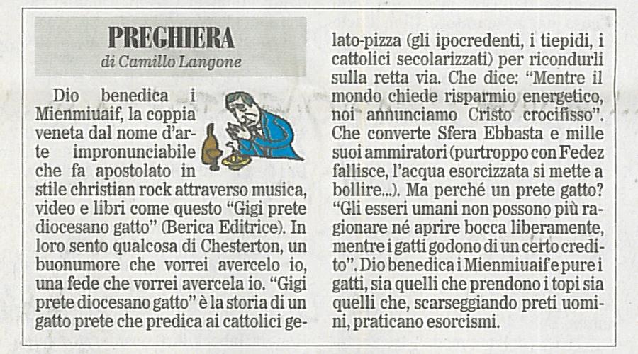 """""""Gigi prete diocesano gatto"""" sulle pagine de """"Il Foglio"""""""